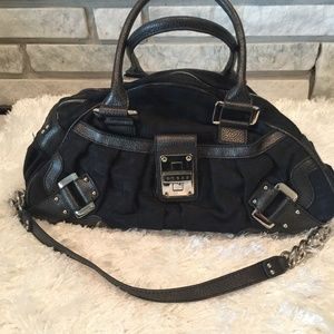 Guess Black G LogoCloth Satchel w/ Silver Hardware